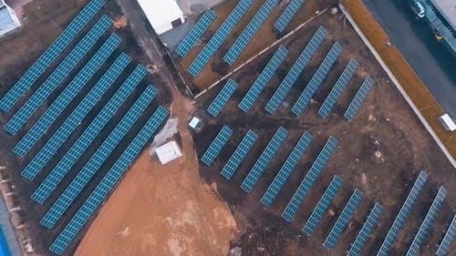 Solar energy panels. Solar panels field from above