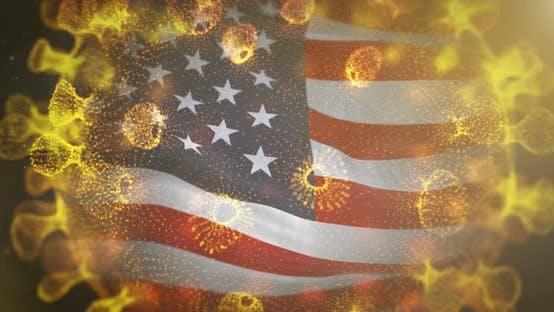 USA Flag With Corona Virus Bacteria 4K