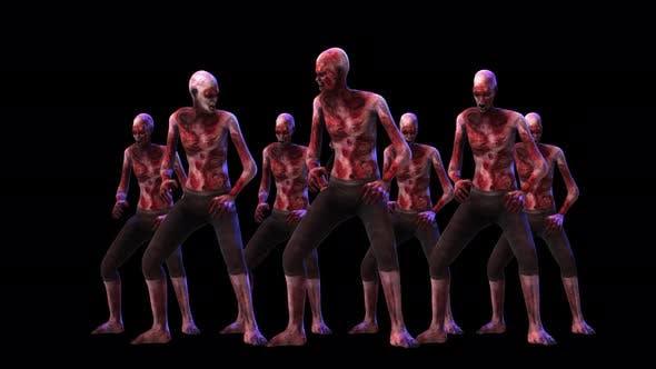 4K Gruppe von Zombies mit Alpha