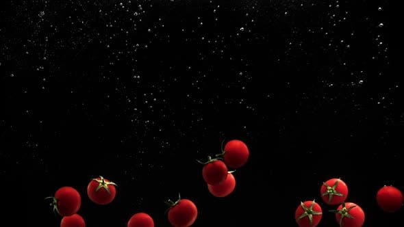 Thumbnail for Fresh Vegetables Cherry Tomatoes Falling in Water on Black Background