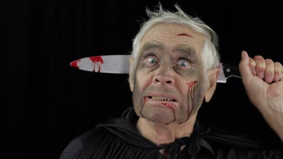 Thumbnail for Elderly Man with Knife in Head. Halloween Makeup and Costume