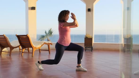 Thumbnail for Pregnant Woman Doing Yoga Sea Embankment in the Morning. Female Doing Stretching Workout on Exercise