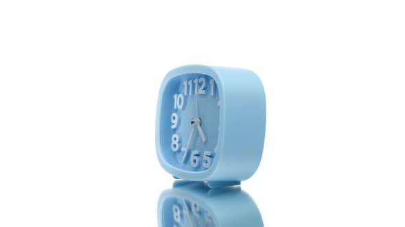 Thumbnail for Blue Clock Arabic Numerals Rotating on Isolated White Background, Time Concept