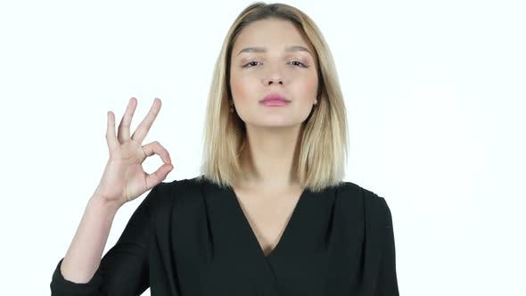 Thumbnail for Young Woman Showing Ok Sign, White Background
