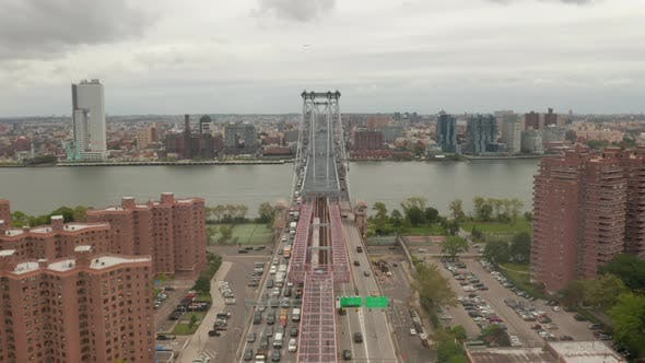 Thumbnail for View of Williamsburg Bridge with Heavy Car Traffic, New York City