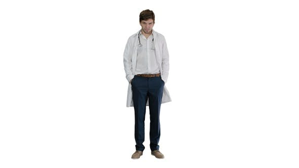 Thumbnail for Sad young man doctor shaking had on white background.