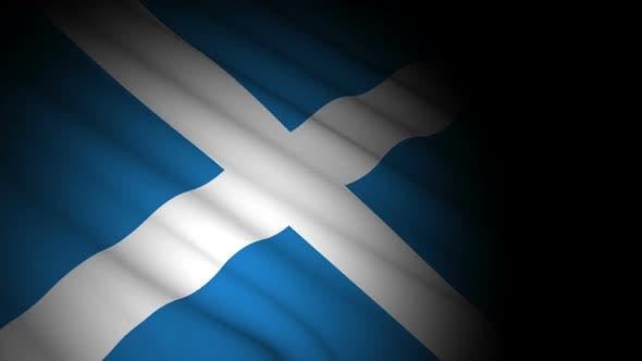 Scotland Flag Blowing in Wind