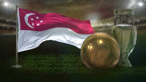 Singapore Flag With Football And Cup Background Loop