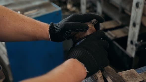 Engine Repair Close Up. In Hands Tool Car Engineer Mechanic.