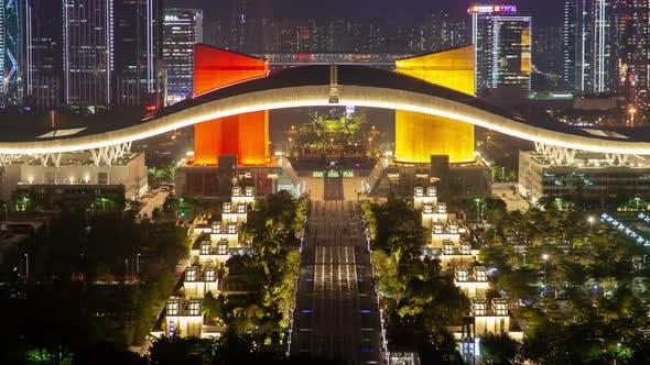 Timelapse Tourists Wander Under Futian Arch in Shenzhen