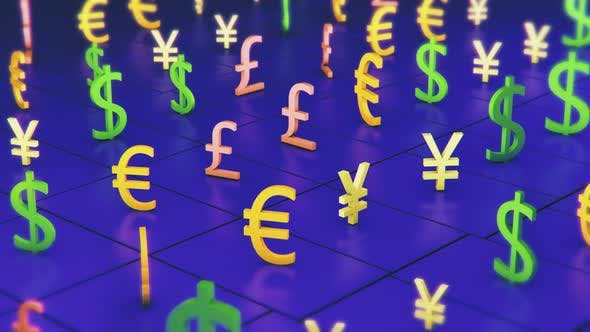 Currency Oscillation on blue background