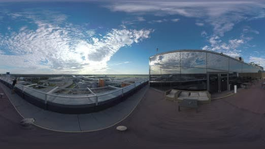 Thumbnail for 360 VR Man in Rooftop Cafe Looking at Airport and Road Traffic, Moscow