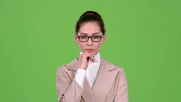 Thumbnail for Chief Woman Thinks About Serious Issues and Finds a Solution. Green Screen. Slow Motion