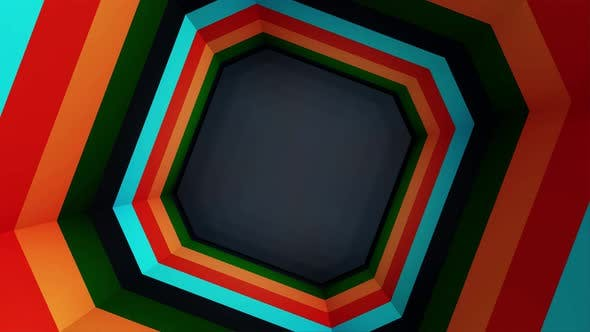 Animation of colorful octagon tunnel