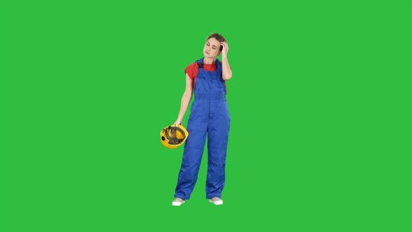 Thumbnail for Tired woman in construction clothes after hard working