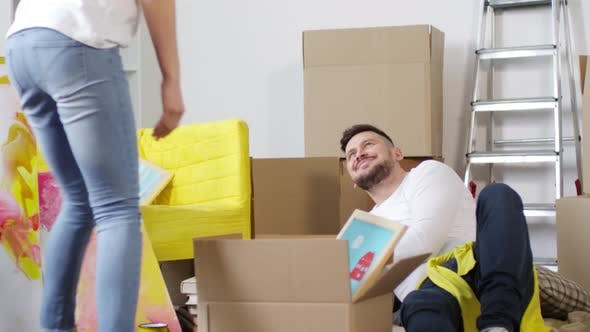 Thumbnail for Happy Caucasian Couple Unpacking in New Apartment