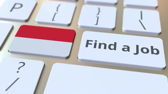 FIND A JOB Text and Flag of Indonesia on the Buttons