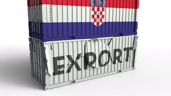 Thumbnail for Container with Flag of Croatia Breaks Container with EXPORT Text