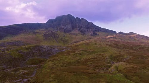 Cinematic Flight Close To the Old Man of Storr in the Scottish Highlands, Isle of Skye - Scotland