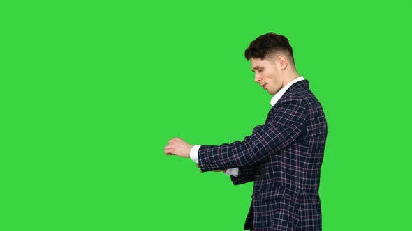 Thumbnail for Young Cool Elegant Man Walking By on a Green Screen, Chroma Key.