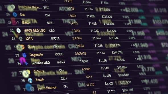 Conceptual Cryptocurrencies Prices List on the Marketplace