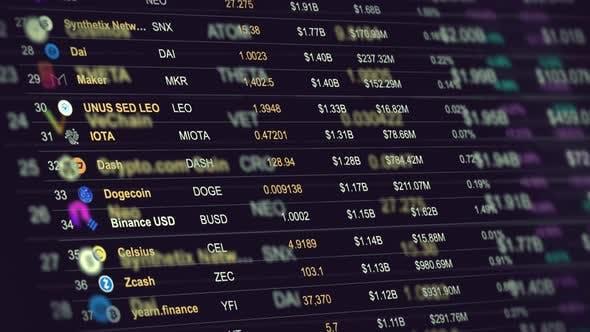 Preisliste für konzeptionelle Kryptowährungen auf dem Marktplatz