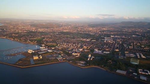 Flying in to Edinburgh airport Scotland