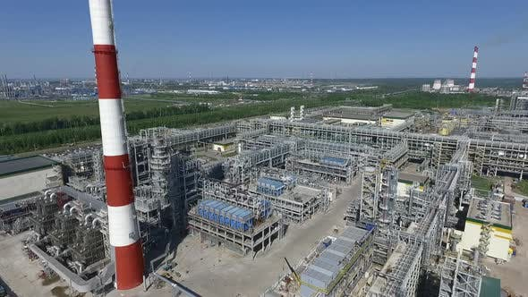Facilities of Petroleum Processing Plant, Aerial View