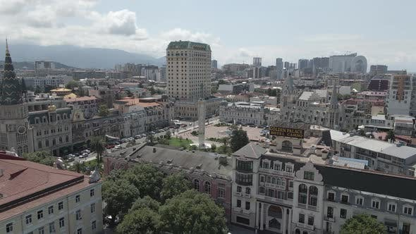Thumbnail for Aerial view of Europe square in Batumi }owntown. Georgia 2020 summer