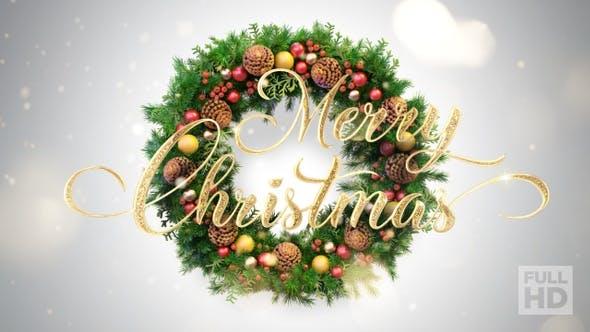 Thumbnail for Merry Christmas Text Animation (Mistletoe Wreath)
