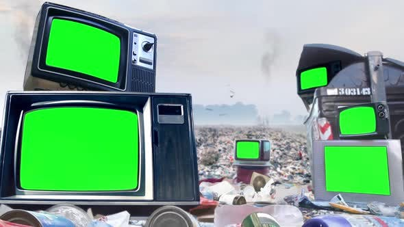 Thumbnail for Retro TVs with Green Screen and Pile of Rubbish near Garbage Container.