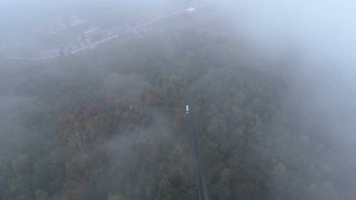 Top View of White Truck Driving on Dangerous, Misty Forest Road. Drone Chasing White Bus on Foggy