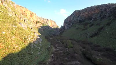 Aerial footage revealing a beautiful canyon