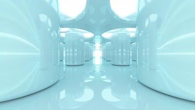 Futuristic abstraction of the future, 3d animation of glowing pillars with glow and reflections.