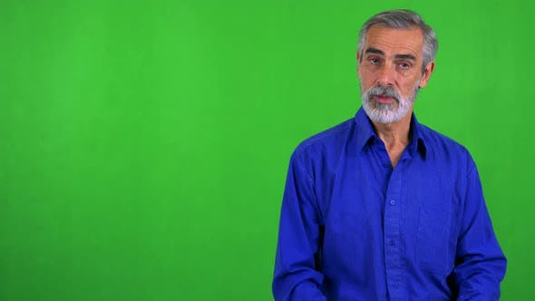 Thumbnail for Old Senior Man Agrees (Shakes with Head) - Green Screen - Studio