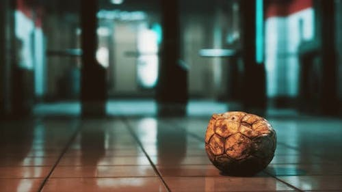 Old Soccer Ball in Empty Subway