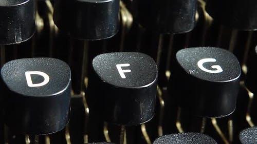 Vintage typewriter keys closeup.