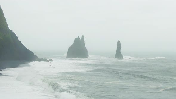 Thumbnail for Reynisdrangar Rocks, Reynisfjara Beach. Iceland. Aerial View