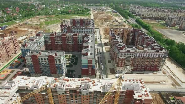 Thumbnail for - Flying Over New-built and Unfinished Residential Compounds in New Moscow, Russia