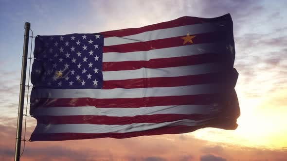 Alaska and USA Flag on Flagpole