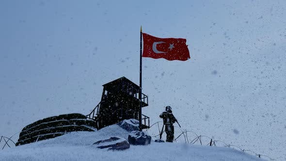 Thumbnail for Turkish Soldier Keeping Watch at Border in Snowy Weather