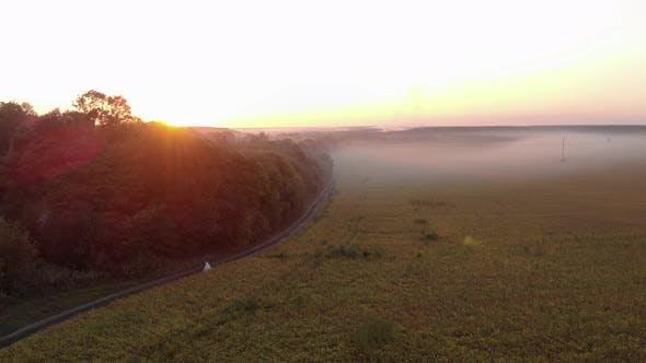 Thumbnail for Feld im Abendnebel bei Sonnenuntergang. Zwei Jungvermählte gehen in der Nähe des Feldes. Rosa Sonnenstrahlen
