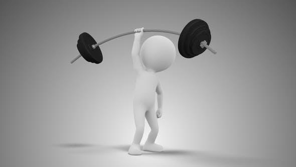 3D homme de levage de poids dans une boucle de main