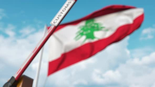Thumbnail for Closing Boom Barrier with CUSTOMS Sign at Flag of Lebanon