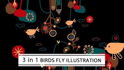 Flying Birds 2D Illustration