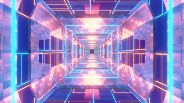 3d Neon Light Animation Tunnel