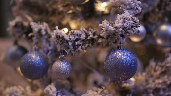 Thumbnail for Christmas decoration on the tree at night