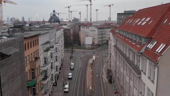Thumbnail for AERIAL: Slow Flight Through Empty Central Berlin Neighbourhood Street with Almost No People