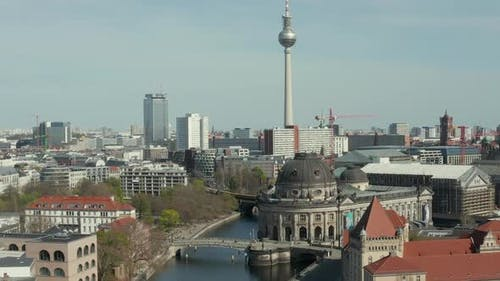 AERIAL: Wide View of Empty Berlin with Spree River and Museums and View of Alexanderplatz TV Tower
