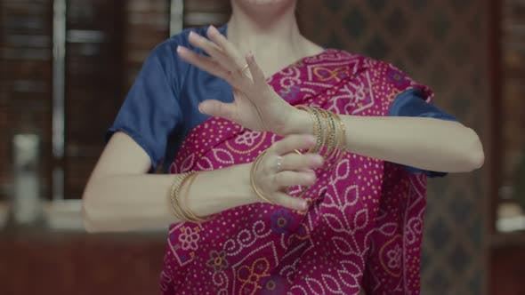 Thumbnail for Female Hands in Bracelets Dancing in Indian Style